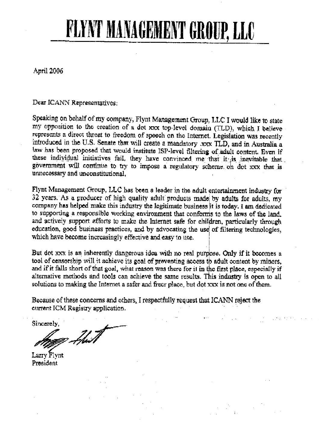 2006 ICANN Correspondence - ICANN