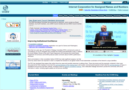 Front page of ICANN.org