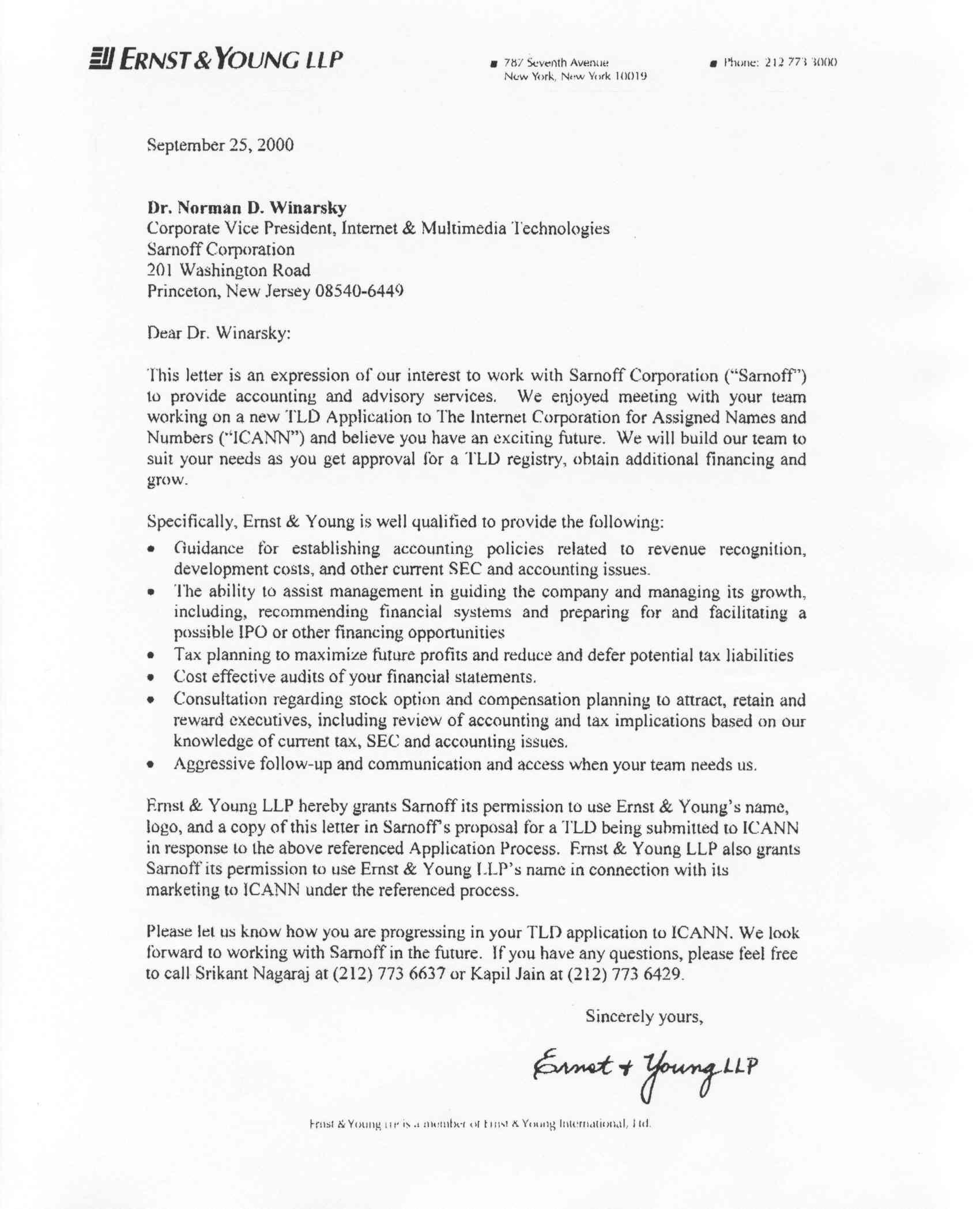 Letter of application letter of application for young for Ernst and young resume sample