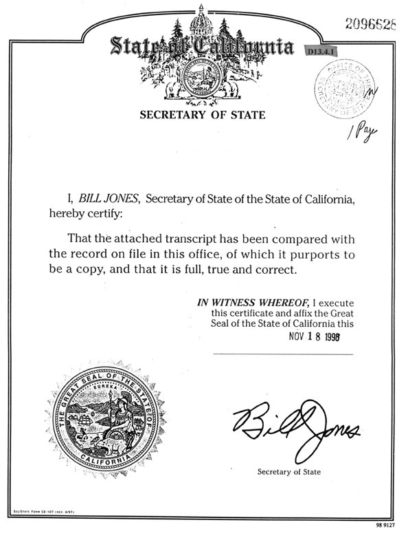 Article Of Incorporation California Template